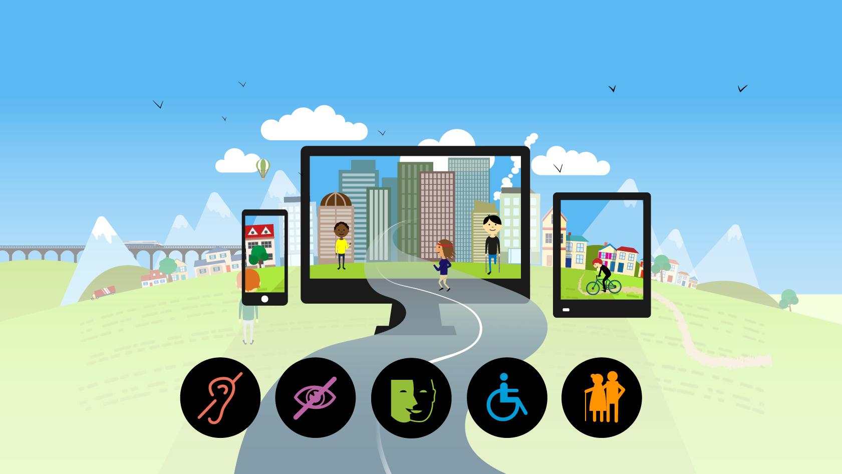 Illustration d'un écran de téléphone, d'ordinateur et de tablette. Il y a les 5 logos décrivant certaines personnes handicapées : surdité, malvoyance, muet, fauteuil roulant, vieillesse.