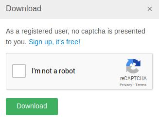Capture d'écran de reCAPTCHA v2