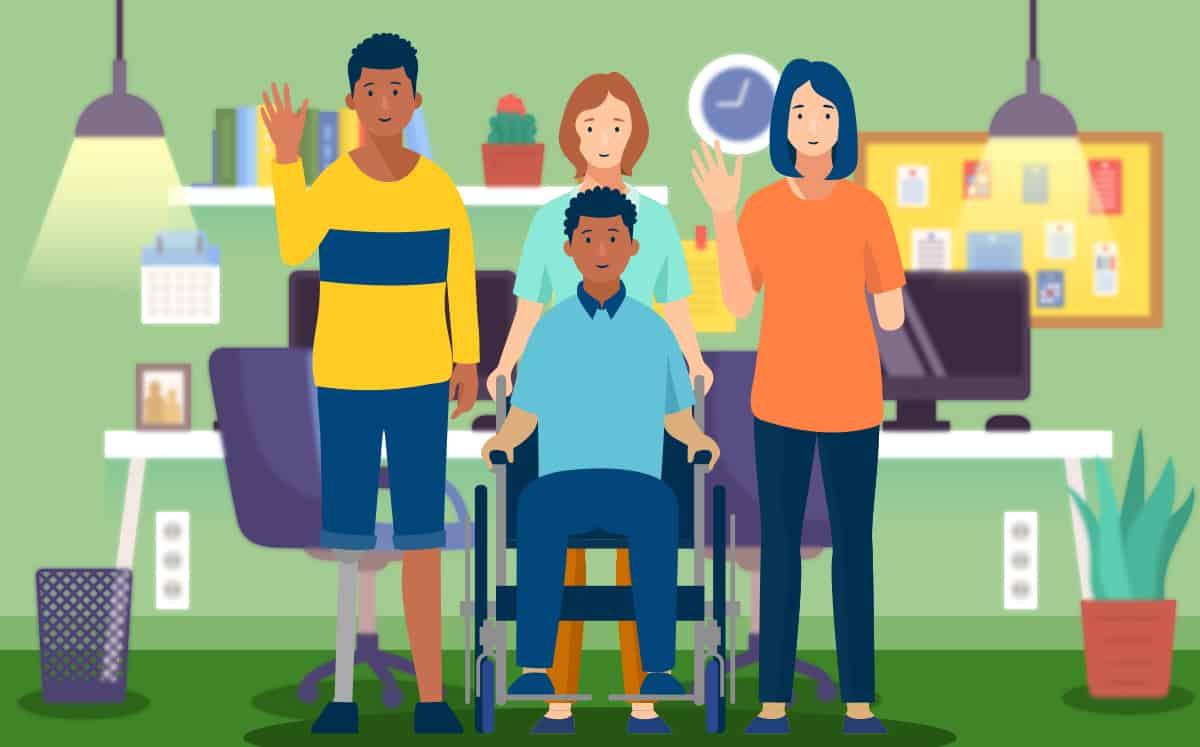 De gauche à droite : une personne amputée d'une jambe, une personne en fauteuil roulant, une personne derrière cette dernière, une personne amputée d'un bras. Il y a des bureaux en arrière plan.