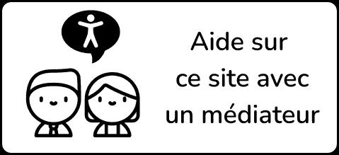 Logo rectangulaire. Image à gauche deux personnages souriants, un garçon et une fille. Le garçon a une bulle de dialogue avec le picto de l'accessibilité numérique. Texte à droite aide sur ce site avec un médiateur