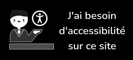 Logo rectangulaire. Image à gauche Un personnage souriant ayant sa main gauche qui présente le picto de l'accessibilité numérique. Texte à droite J'ai besoin d'accessibilité sur ce site